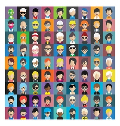 Set of people icons in flat style with faces 14 b vector