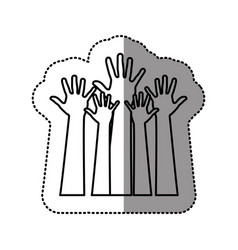silhouette hands up icon vector image