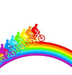 Silhouette of a cyclist a rainbow male33 vector