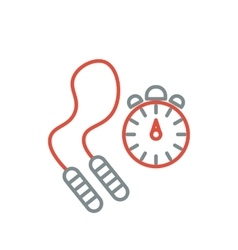 Skipping rope and stopwatch icons vector image