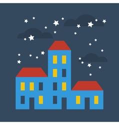 Street of houses under stars vector