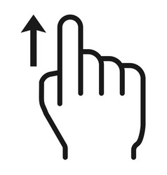 Swipe up line icon touch and hand gestures vector