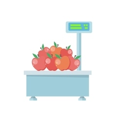 Tray with apples on store scales vector