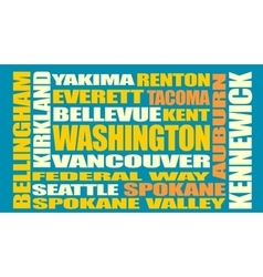 Washington state cities list vector