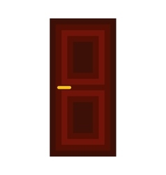 Dark wooden door icon flat style vector