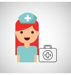 Nurse cartoon kit first aid design vector