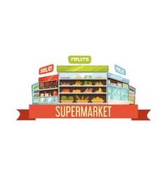 Supermarket Display Stand Retro Composition Poster vector image