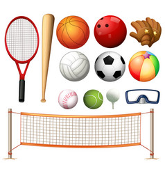 Volleyball net and different types of balls vector