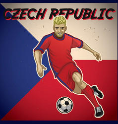 Czech republic soccer player with flag background vector