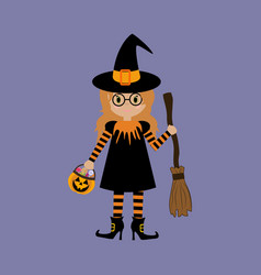 little witch halloween vector image