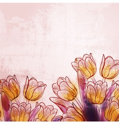 Retro watercolor tulips vector