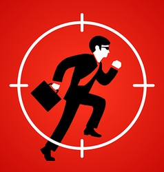 A businessman runs at gunpoint vector