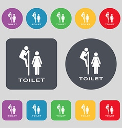 Toilet icon sign a set of 12 colored buttons flat vector