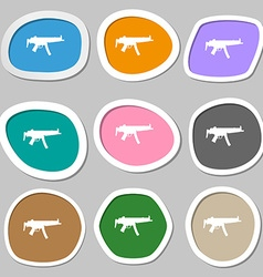 Machine gun icon symbols multicolored paper vector