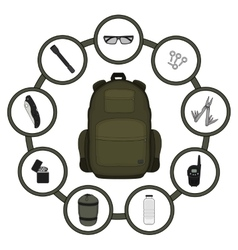 Traveler backpack contents vector