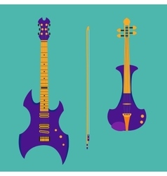 Set of string instruments purple electric violin vector
