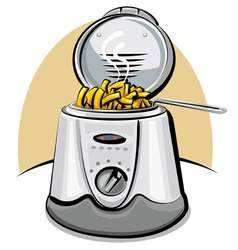 Deep fryer and chips vector