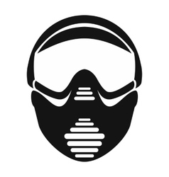 Paintball mask with goggles simple icon vector
