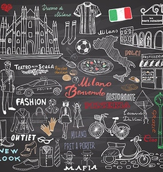 Milan italy sketch elements hand drawn set with vector