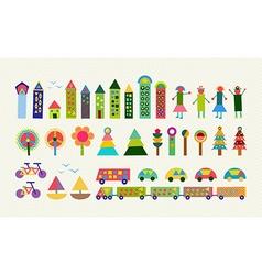 City element set color geometry happy decoration vector image