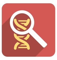 Explore dna flat rounded square icon with long vector