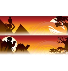 african travel backgrounds set with girl camel and vector image vector image