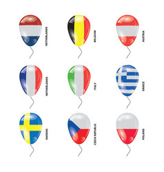 Balloons with countries flags set vector