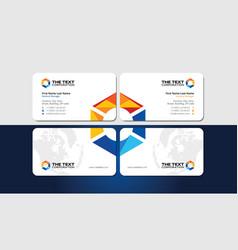 Business card and creative colorful hexagonal logo vector