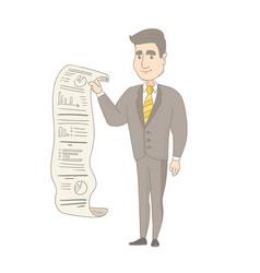 Caucasian businessman presenting business report vector