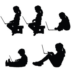 child silhouette sitting with laptop vector image