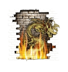 Chinese dragon on a brick background fire vector image vector image