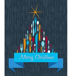 Christmas tree cutlery background vector