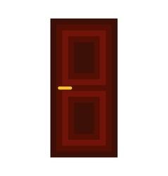 Dark wooden door icon flat style vector