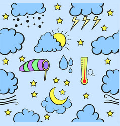 Doodle of weather with cloud various vector