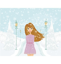 fashion girl on winter landscape vector image