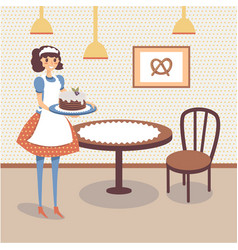 flat bakery store interior with table wooden vector image