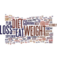 Foods to supplement your weight loss diet text vector