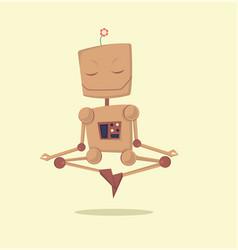 Funny cartoon meditating robot vector