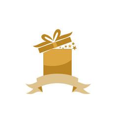 Gift box ribbon anniversary vector