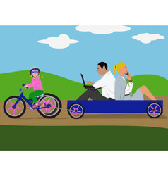 girl-with-blue-bike-pw vector image