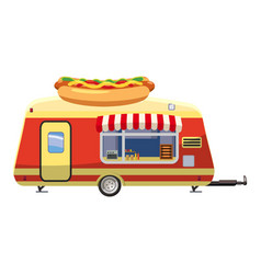 Hot dog trailer mobile snack icon cartoon style vector