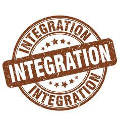 Integration brown grunge stamp vector