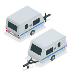 isometric camping trailer on road travel concept vector image vector image