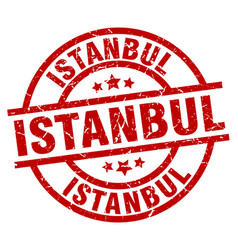 Istanbul red round grunge stamp vector