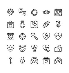 Love and valentine line icons 9 vector