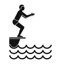 Man standing on springboard icon simple style vector image