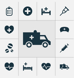 Medicine icons set collection of bus rhythm vector