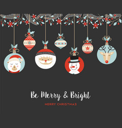 Merry christmas cute retro bauble greeting card vector