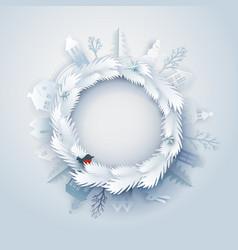 paper art around wreath vector image