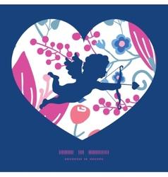 Pink flowers shooting cupid silhouette frame vector